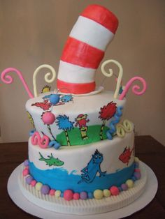 Dr. Seuss cake - Here is my Ode to Dr. Seuss. I made all of the characters with sugarveil(my first time with it; love it!!) The hat is made of rice cripsy treats and covered in fondant. The swirls and pompoms are made of gumpaste. This was a lot of fun and I am so happy with the sugarveil system; it's a godsend for someone like me who cannot draw freehand.