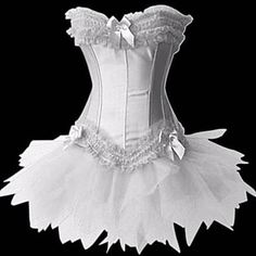 Women's Bows Ruffles Corset with G-string and Skirt – CAD $ 17.27