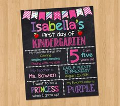 First Day of Kindergarten Sign - First Day of School Chalkboard Sign Printable Photo Prop - Personalized Back to School Pink - ANY GRADE 1st Day Of School, School Daze, Back To School, School Stuff, School Chalkboard, Chalkboard Signs, Chalkboards, Chalkboard Ideas, Kind Photo