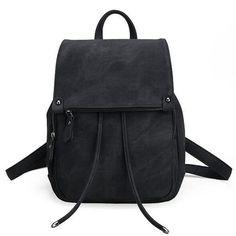 Vintage Women Backpack Simple Style Black Backpacks For Teenage Girls Bag Large PU Leather School Bags Drawstring mochila XA839H