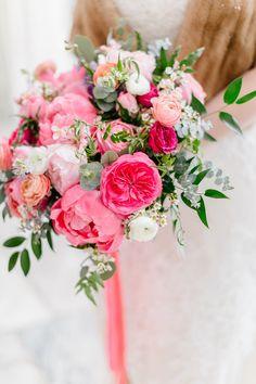 Winter pink bridal bouquet