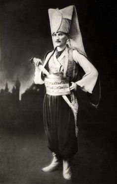 Atatürk at a costume party. In Sofia, 11-14 May, 1914.
