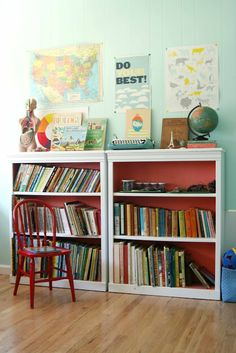 Paint the back of bookshelves bright colour for pop. Cute learning corner.