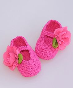 Another great find on #zulily! Pink Crochet Booties #zulilyfinds