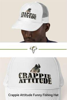 CRAPPIE ATTITUDE fisherman! Get yours today! Various colors. #fishing Fishing Humor, Fishing Tips, Catfish Fishing, Custom Hats, Attitude, Cheer, Tee Shirts, Colors, Funny