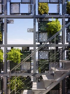 Stairs behind Green Cast facade by Kengo Kuma Associates