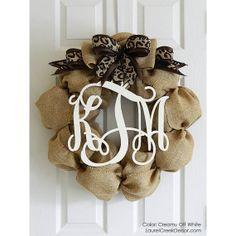 Monogram Wreath - Door Wreaths in Burlap with a Monogram Initials - Cheetah Print - Leopard Print Bow