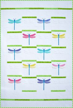 Dragonfly quilt pattern in pastels at Amy Bradley Designs