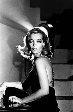 The Beautiful Actress Romy Schneider on the set of 'Dirty hands' 'Les innocents aux mains sales' by Claude Chabrol in 1974 in France