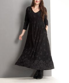Loving this Black Floral Pin Tuck Maxi Dress - Plus on #zulily! #zulilyfinds
