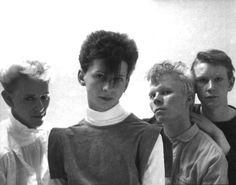 Early Depeche Mode- the only photo I've ever seen of them in new romantic fashion.