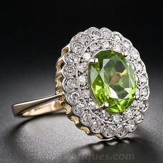 Vintage Peridot and Diamond Ring - Antique & Vintage Gemstone Rings - Vintage Jewelry Old Jewelry, Antique Jewelry, Jewelry Rings, Vintage Jewelry, Fine Jewelry, Jewlery, My Birthstone, Birthstone Jewelry, Peridot And Amethyst