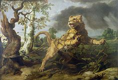 Title: The Lion and the Mouse,   Artist: Frans Snyders  Location: Private Collection