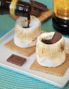 Roasted Marshmallow Kahlua Shots - Recipe, Desserts, Beverages, Drinks, Quick and Easy