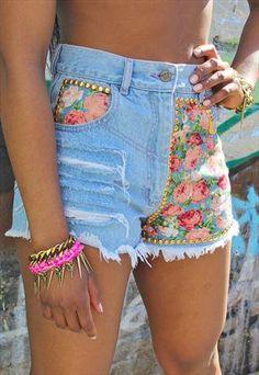 Floral & denim shorts <3