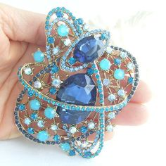 Bouquet Floral Brooch Pin Gorgeous Oval Star by VanessaJewel, $16.95