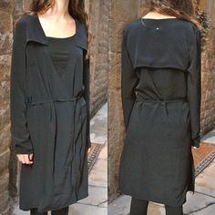 Back (Ann Sofie Back) Yoke Collaer Dress Black-DOSHABURI DOSHABURI