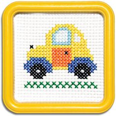 """TAXI--55TX  This counted-cross stitch kit includes 6-count Aida cloth and a 5""""x5"""" Yellow Square Hoop-Frame  - - - -       EasyStreetCrafts.com"""