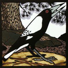 Magpie-Oatlands / Tasmanian Birds - linocut - Kit Hiller