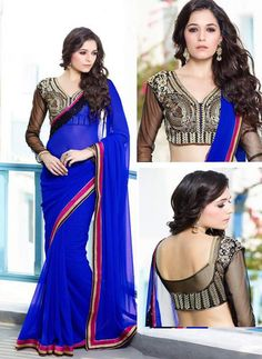Royal Blue Color Bember Georgette Special Occasion Sarees : Simar Collection YF-25532