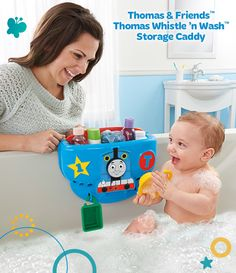 This Thomas & Friends bathtub toy keeps baby entertained with a fun train whistle sound and 2 scoops, PLUS it doubles as a storage caddy! #BathTime