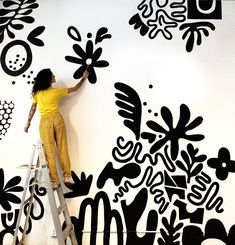 Finished this mural for yesterday. My first black and white mural and it's still feeling just as playful as my… Murals For Kids, Kids Room Murals, Bedroom Murals, Mural Wall Art, Mural Painting, Gouache Painting, Paintings, Wal Art, Inspiration Artistique