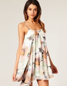 ASOS Swing Dress in Watercolour Print - StyleSays