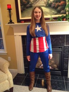 Here is a photo of my costume. My shirt is a little twisted, sorry about that. But you get the idea Captain America Cosplay, Capri Pants, Costumes, Shirts, Fashion, Moda, Capri Trousers, Dress Up Clothes, Fashion Styles