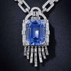 Lacloche Frères 33.06 Carat Natural, 'No Heat' Sapphire and Diamond Necklace