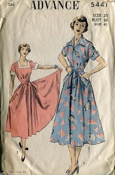 Advance 5441 Retro 1950's Dress Neck Variations: Back wrapping - reminds me of a Swirl Dress