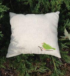 Handmade Bird Stencil Pillow.. $12.00, via Etsy.