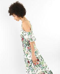 Robe longue manches peekaboo - Une robe longue à imprimé tropical, c'est un essentiel d...