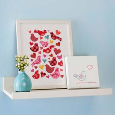 These cute craft projects make great shelf decorations for Valentine's Day.