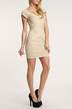 Wow Couture Julie Bandage Dress In Gold