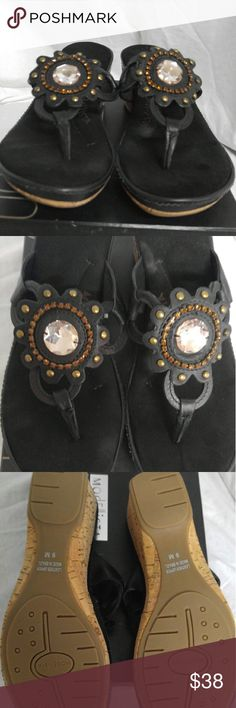 Modellista black suede size 9 rhinestone sandal These are brand new sandals that are soo cushy. They have cushions that comfort your feet.They have never been worn. ModeEllista Shoes Sandals