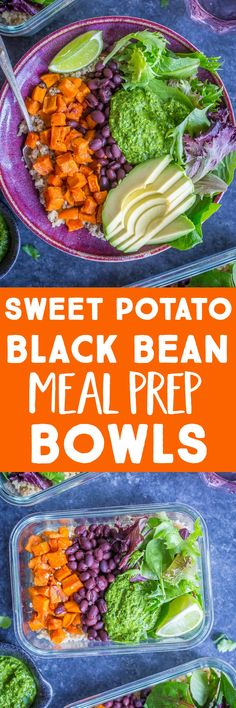 These Sweet Potato Black Bean Meal Prep Bowls are topped with a delicious cilantro lime pesto and perfect for your vegan meal prep! Make them on Sunday and have lunch all week! Recipe is vegan, gluten free and refined sugar free. Great for dinner too! Vegetarian Meal Prep, Best Vegetarian Recipes, Lunch Meal Prep, Meal Prep Bowls, Lunch Recipes, Healthy Dinner Recipes, Cooking Recipes, Free Recipes, Easy Recipes