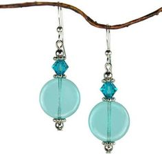 Jewelry by Dawn Aqua Glass Coin Earrings   Overstock.com Shopping - The Best Deals on Crystal, Glass & Bead Earrings