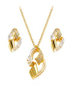 Two-tone polished fashion pendant and earring set by china wholesale