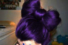 purple hair in a bow hairdo