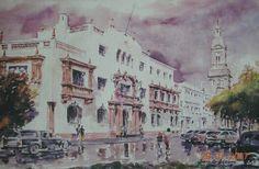 Corte de Apelaciones de La Serena pintada el año 2001 por el pintor copiapino Juan Carlos Aguirre Carrasco.