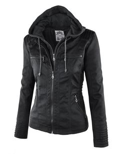 LL Womens 2-For-One Hooded Faux leather Jacket at Amazon Women's Coats Shop