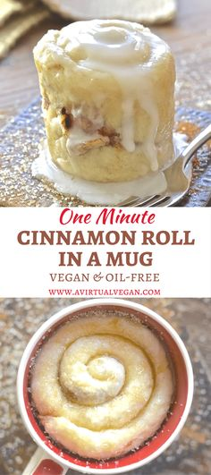 If you have a mug, a microwave & a spoon you can make this One minute Cinnamon Roll in a Mug. Perfect for when you NEED dessert now! via A Virtual Vegan kuchen ostern rezepte torten cakes desserts recipes baking baking baking Vegan Sweets, Healthy Desserts, Just Desserts, Delicious Desserts, Yummy Food, Tasty, Healthy Recipes, Single Serve Desserts, 5 Minute Desserts