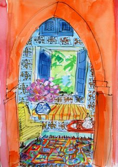 This watercolor is used to illustrate the website of Moroccan Sketchbook, a painting retreat in Marrakech. I assume this was done by one of the participants, but incredibly, the website doesn't give credit! Who created it?