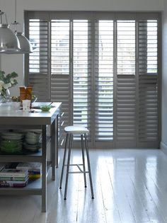 Add some industrial chic to a modern kitchen with grey full-height diy shutters. Kitchen Shutters, Diy Shutters, Interior Shutters, Window Shutters, Gray Interior, Shop Interior Design, Buying A New Home, Chicken And Vegetables, Industrial Chic