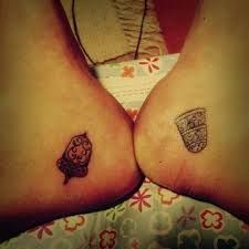 Just one of the cutest ideas for a couples tattoo I've seen in a long time :) Thimble for the boy, Acorn of the girl xxx