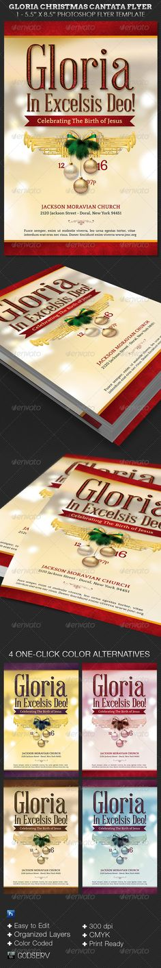 Gloria Christmas Cantata Flyer Template — Photoshop PSD #pageant #godserv • Available here → https://graphicriver.net/item/gloria-christmas-cantata-flyer-template/6384139?ref=pxcr