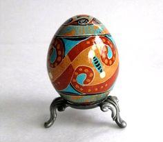 Trypillian Pysanka, chicken Egg decorated batik style, Ukrainian Easter egg. $25.95, via Etsy.