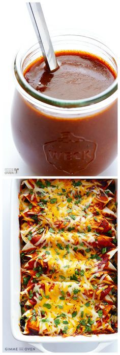 Homemade Enchilada Sauce -- you'll never go back to the store-bought (processed) stuff again.  This homemade version is quick, easy, and UNBELIEVABLY good!   gimmesomeoven.com