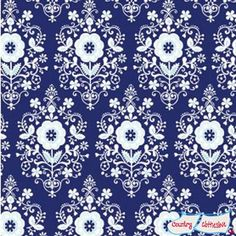 Buttercream Navy Quilt Fabric by Louise Anglicas for Clothworks