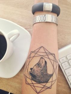 Geometric bear tattoo #ink #tattoo